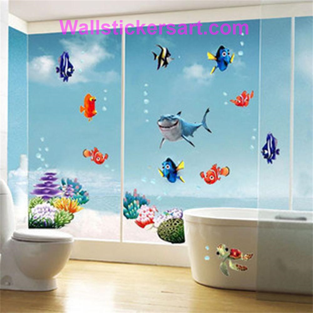 Wonderful Sea world colorful fish animals vinyl wall art window bathroom decor decoration wall stickers for nursery kids rooms