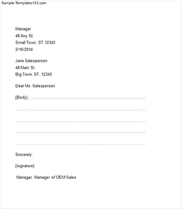 Sample Business Letter Format Example Cover Templates Page Block