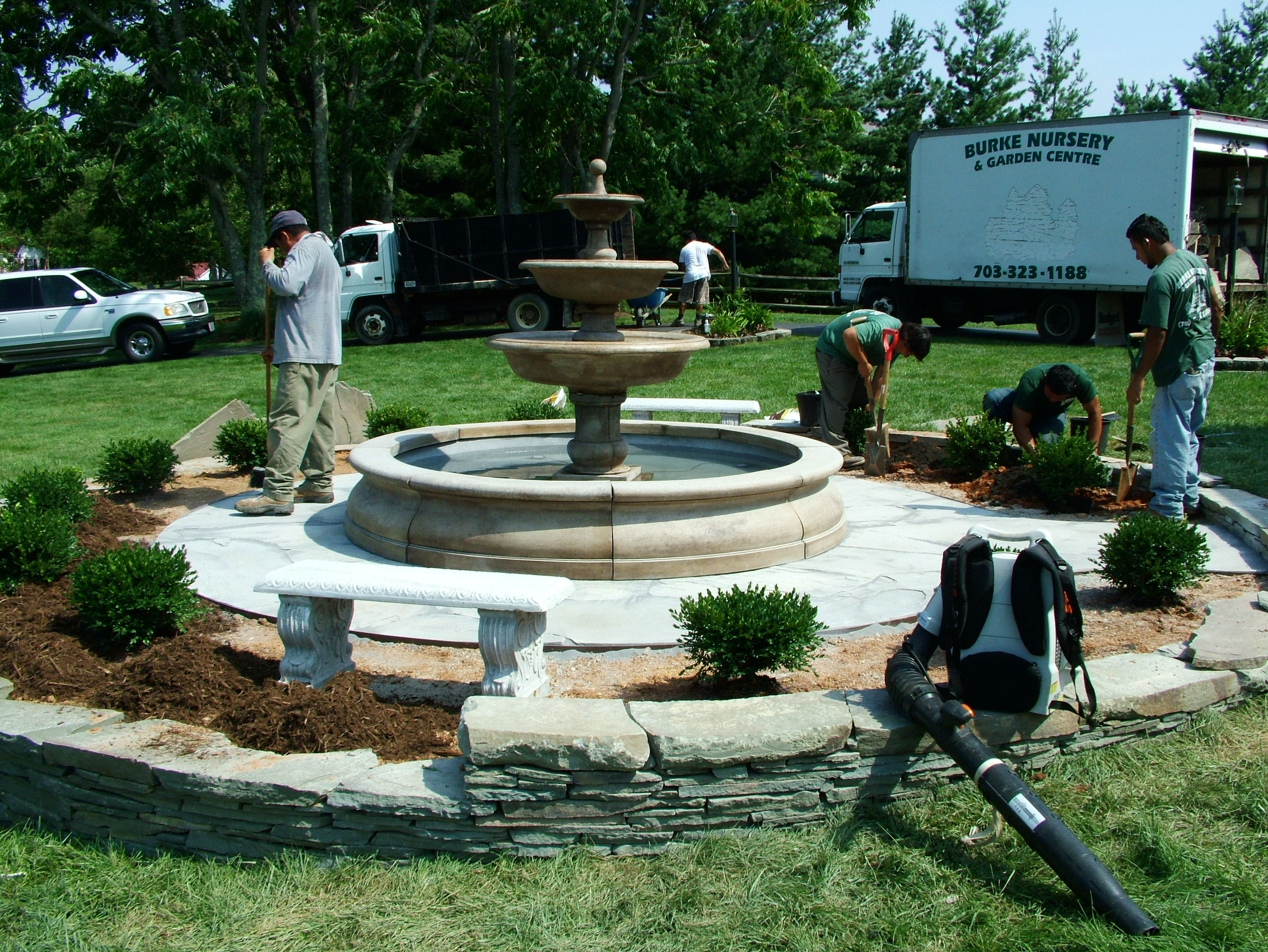 Installing Plants Around the Fountain