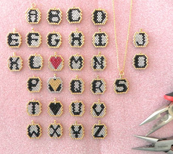Heart charm pendants, Necklace alphabet initial pendant, Letter and heart necklace, Wife personalized gift, Black heart silver chain #beads