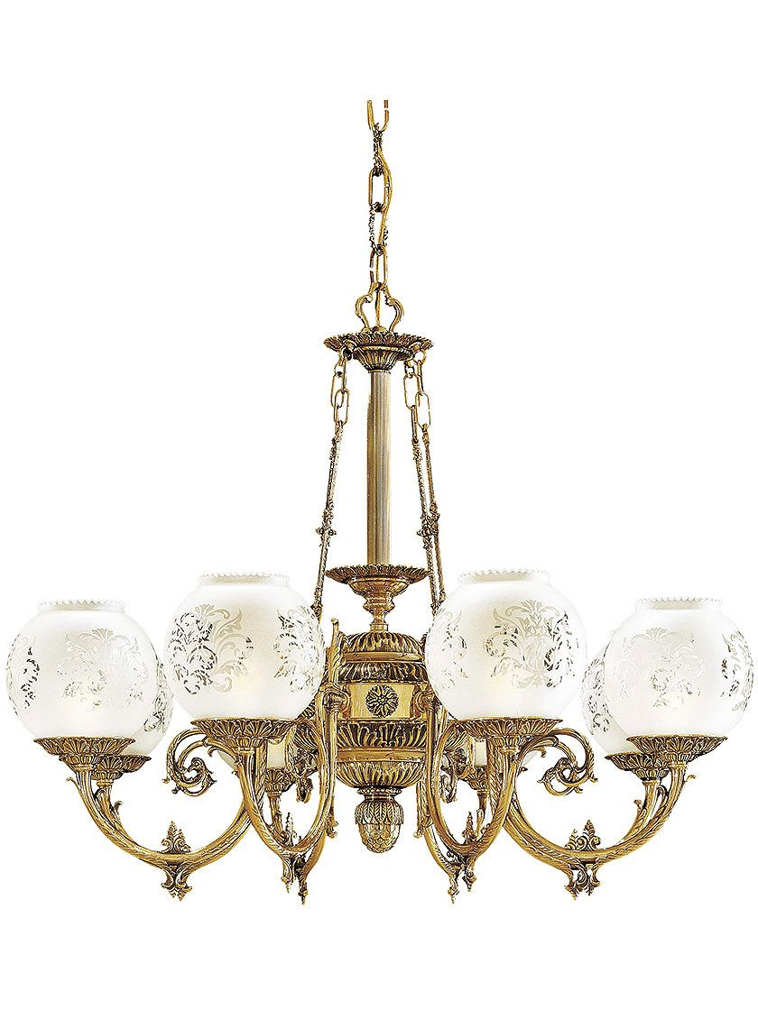 English Victorian 8 Light Chandelier With Etched Glass Shades In 2021 Chandelier Lighting Glass Shades Victorian Lamps