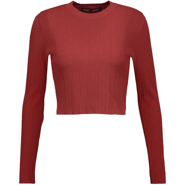 Proenza Schouler Cropped ribbed stretch-knit sweater (4 975 ZAR) ❤ liked on