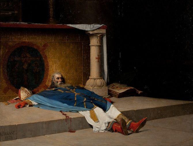 """Albert Pierre Dawant: """"Le Meurtre de saint Thomas Becket"""" (1879) Peintures des Musées de France: FECAMP"""