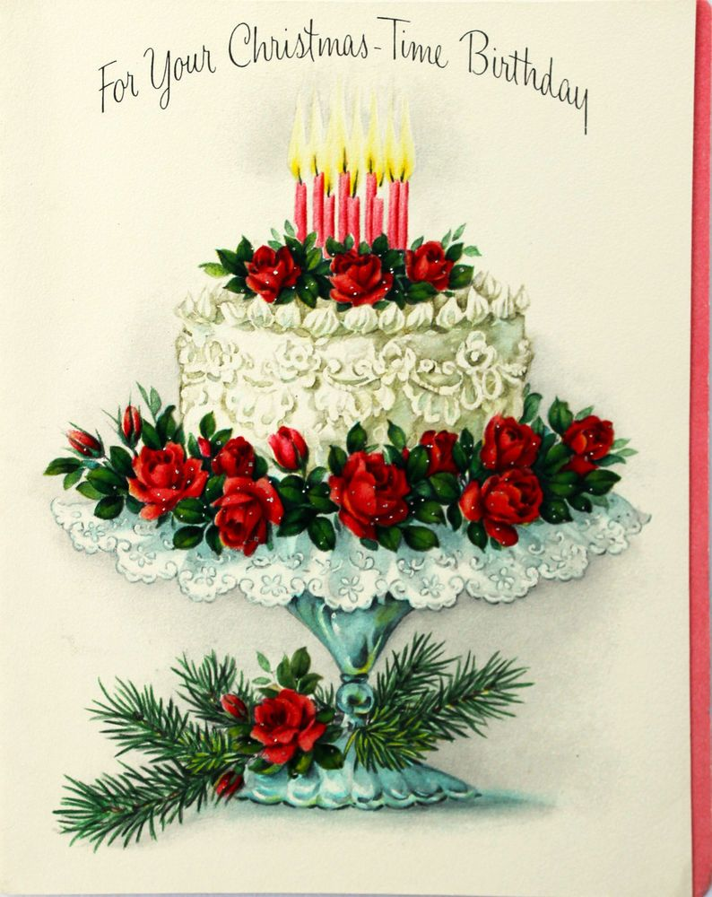 Christmas Bday Cards.1950 S Hallmark Christmas Time Birthday Cake Candles Rose Vintage