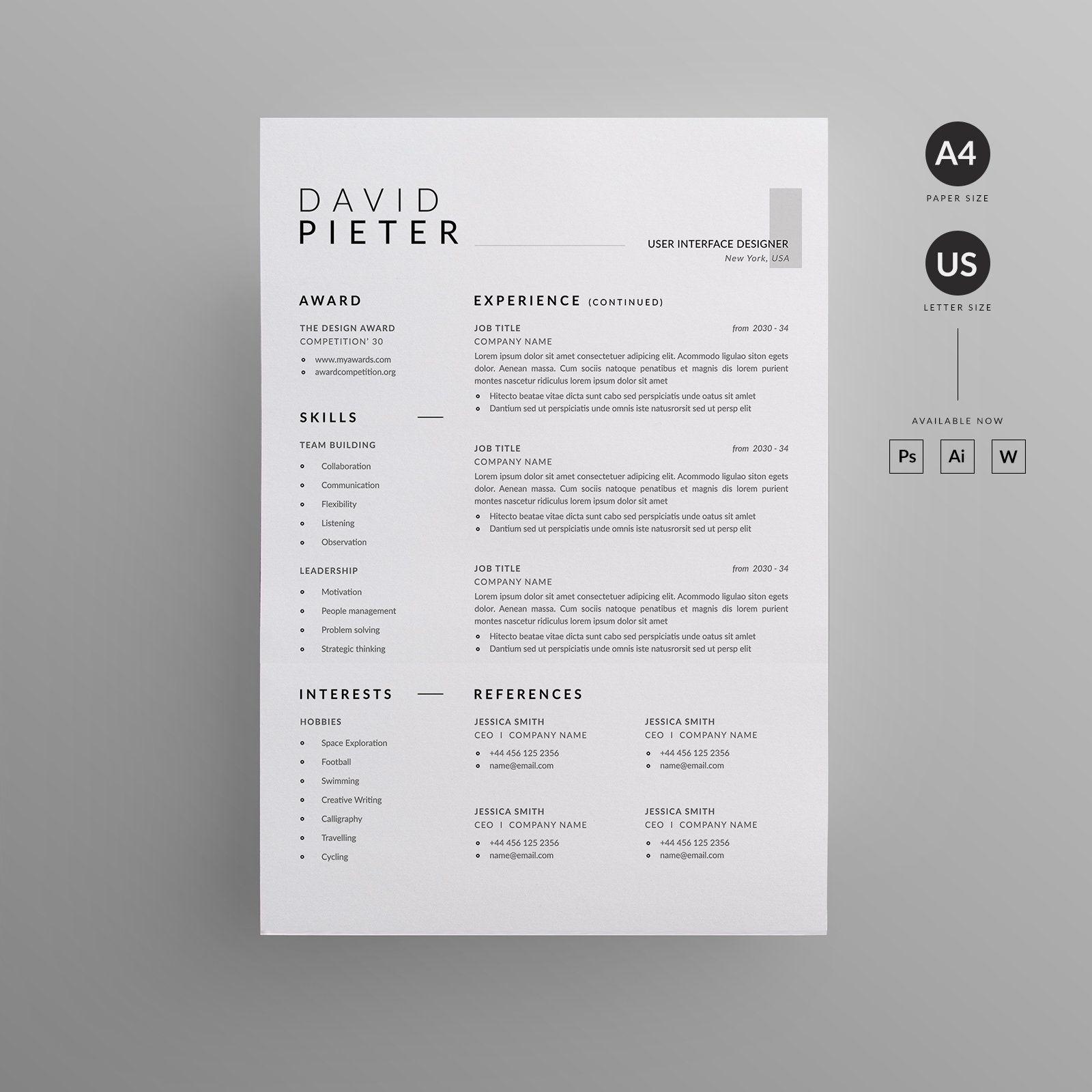 Resumecv in 2020 letterhead design unique resume