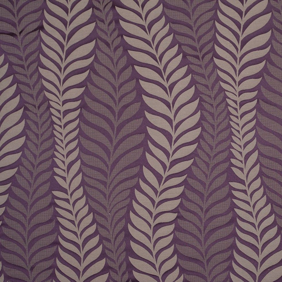 Plum and Taupe Leaves Satin Jacquard Fabric by the Yard | Mood Fabrics