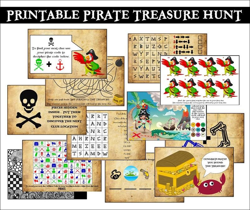 This Printable Pirate Treasure Hunt Is Fantastic So Easy To Use Can Be Played Anywhere And Very Engaging For The Kids With A Variety Of Clues Using