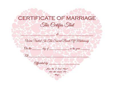 Hearts in a Heart - Keepsake Marriage Certificate - Free Printable - marriage certificate template