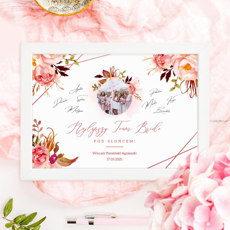 Prezent Na Panienski Rama Na Zdjecie Z Imprezy Z Imieniem Super Pamiatka Sklep Pinkdrink Pl Wedding Frame Flowers