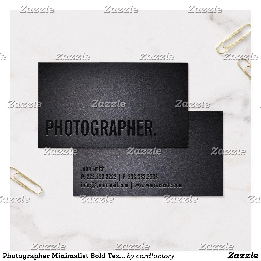 Photographer Minimalist Bold Text Photography Business Card ...