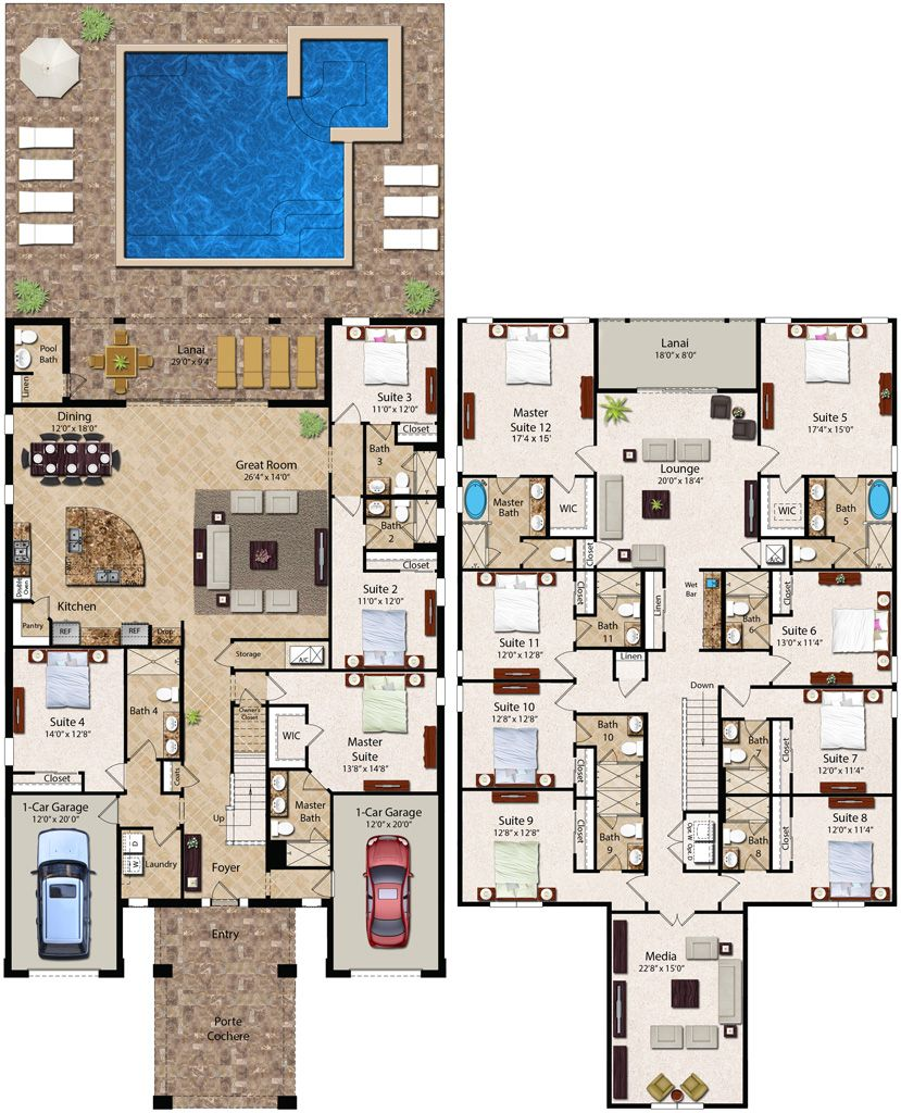 12 Bedroom Homes With More Than 6 400 Square Feet Of Living Space The 12 Bedroom Essex Is Our Largest Home A Mansion Floor Plan Large House Plans House Plans