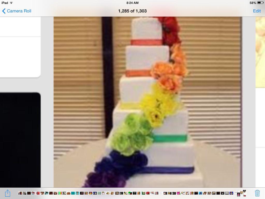 Beautiful rainbow six their cake