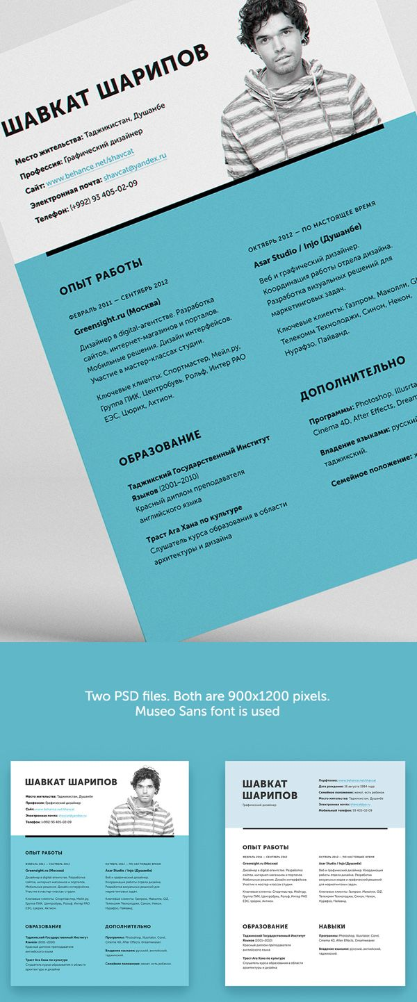 Free One Page Psd Resume Cv Template  Resumes