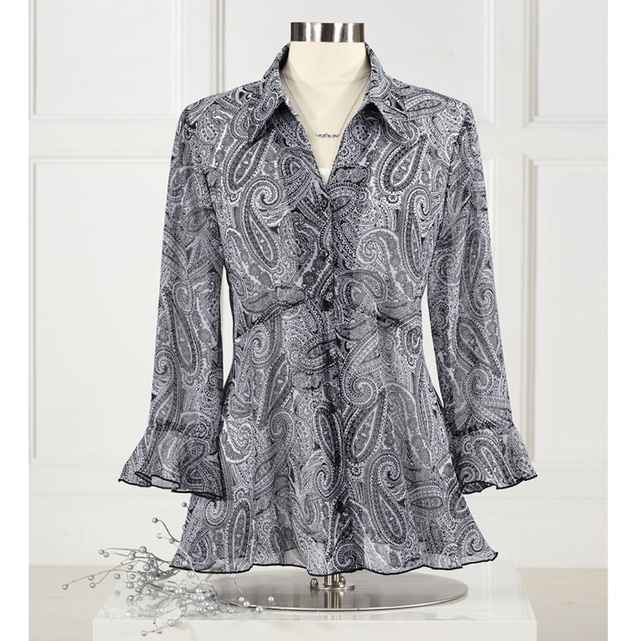 Paisley Flutter Blouse - Women's Clothing, Unique Boutique Styles & Classic Wardrobe Essentials - NorthStyle
