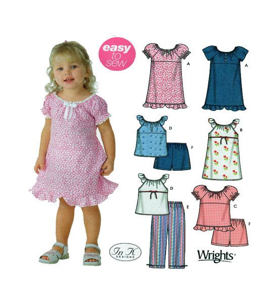 IN K DESIGNS Designer Childrenswear Simplicity 5118 Girl Pull On Peasant Style Dress, Top & Elastic Waist Pants/Shorts Sz 1/2-1-2-3-4-UNCUT by FindCraftyPatterns on Etsy