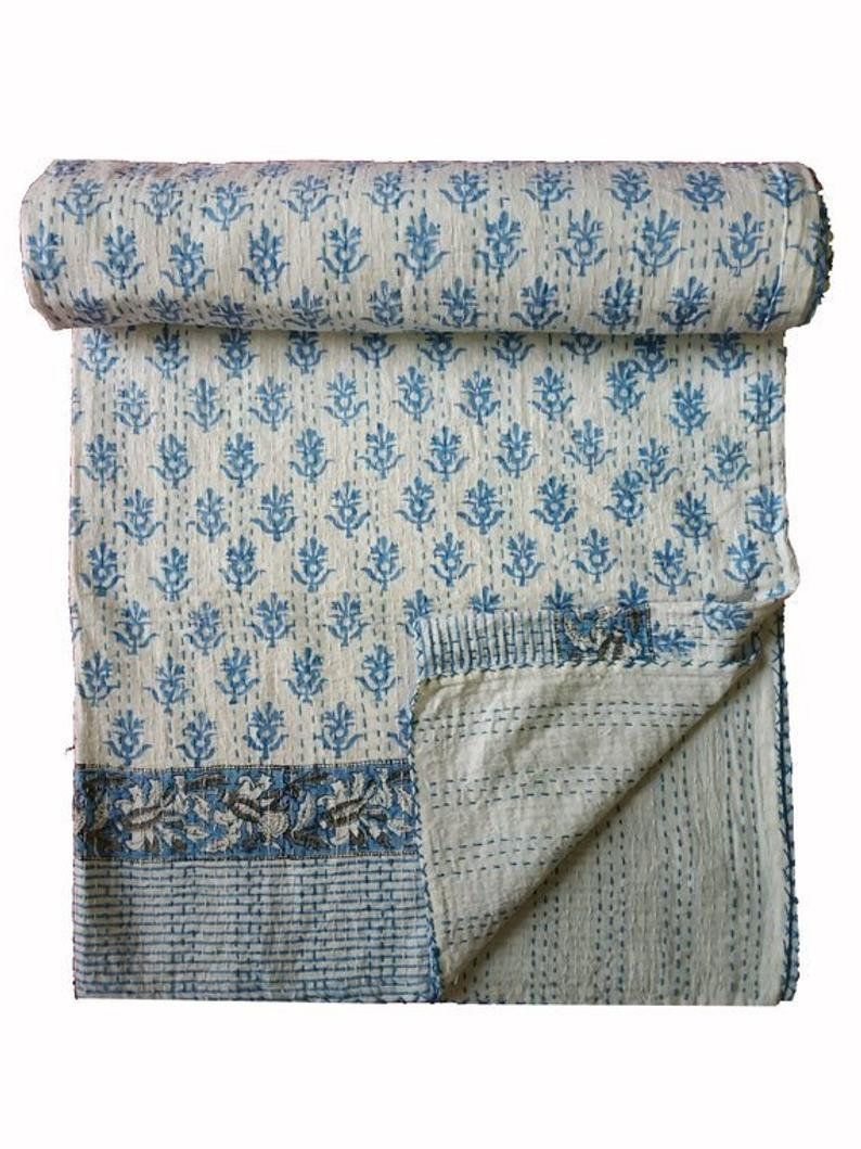 Vintage Indian Kantha Bedspread Handmade Quilt Throw 100/%Cotton Blanket Queen