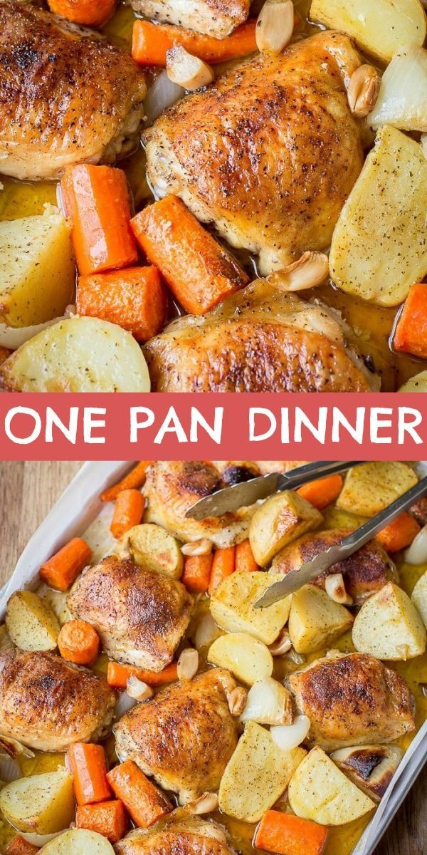 One Pan Chicken and Potatoes recipe is a simple, easy and delicious dinner idea that can be thrown together in minutes. Just toss chicken thighs, potatoes and carrots in the baking dish with seasoning & bake! #letthebakingbegin #onepandinner #dinner #chicken #potatoes #bakedchicken #easy #onepandinnerschicken