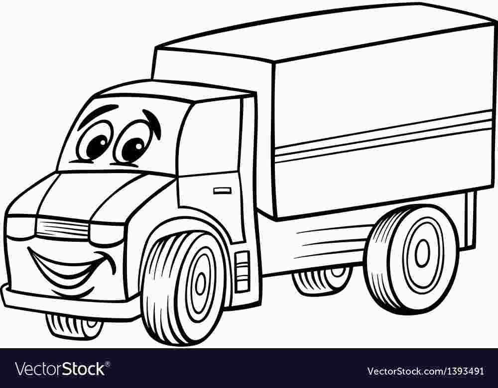 Coloring Cartoon Trucks Black And White Cartoon Cartoon