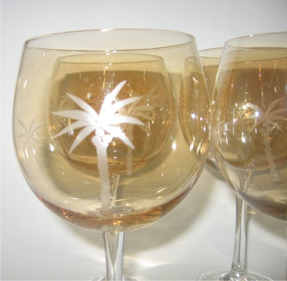 Amber Glass Wine Goblets with Etched Palm Trees by shantygifts