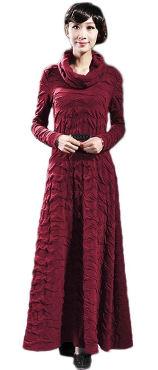 Yacun women turtle neck long sleeve knitted casual pleated long maxi