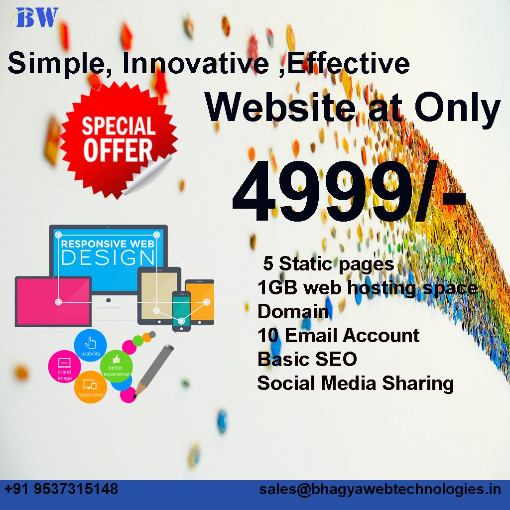 5 Page Website Just 4 999rs Affordable Web Design Packages Www Bhagyawebtechnologies Com Inquiry Php Web Design Packages Web Design Affordable Web Design