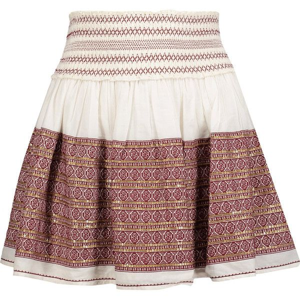 LoveShackFancy - Beach Embroidered Embellished Cotton-gauze Mini Skirt (450  ILS) ❤ liked