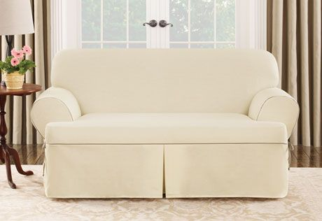 Sure Fit Slipcovers Cotton Canvas One Piece T Cushion Slipcovers