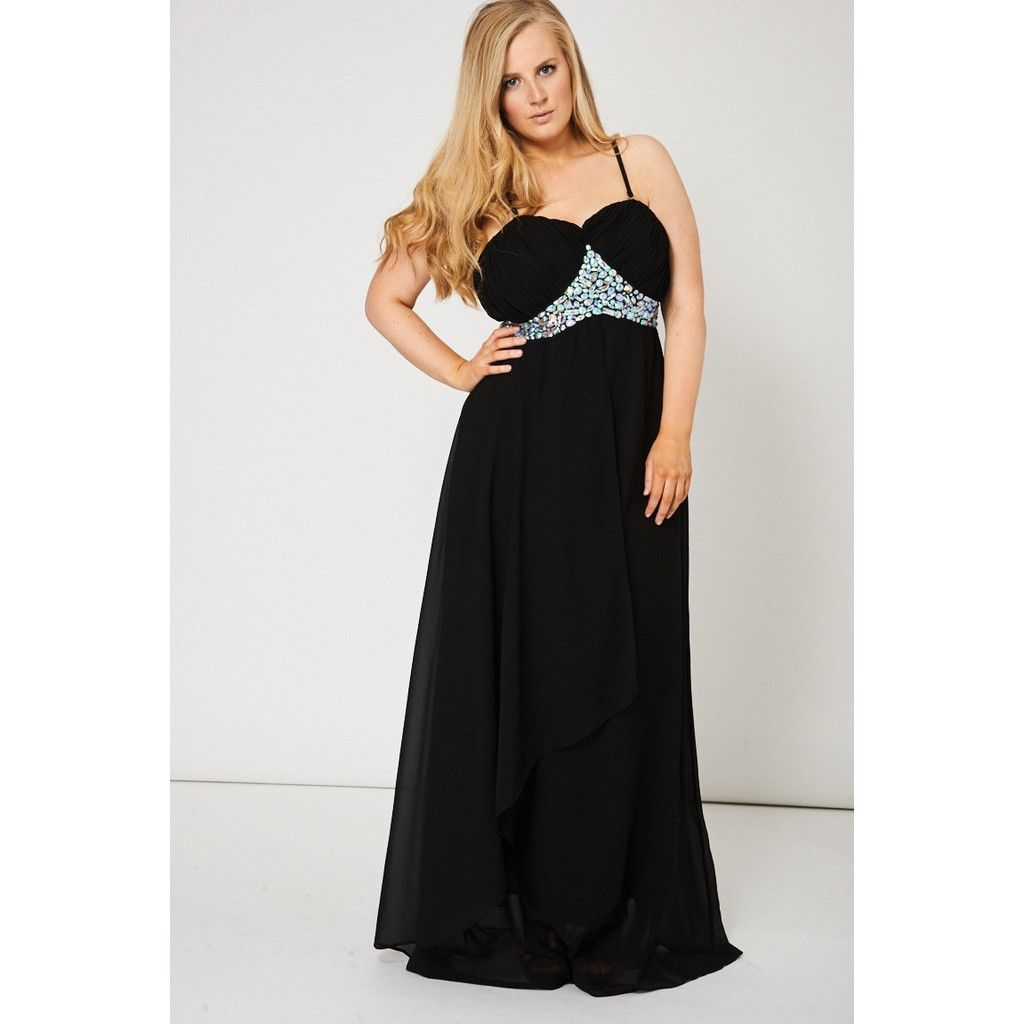 Black pleated bust and gem maxi prom dress products pinterest
