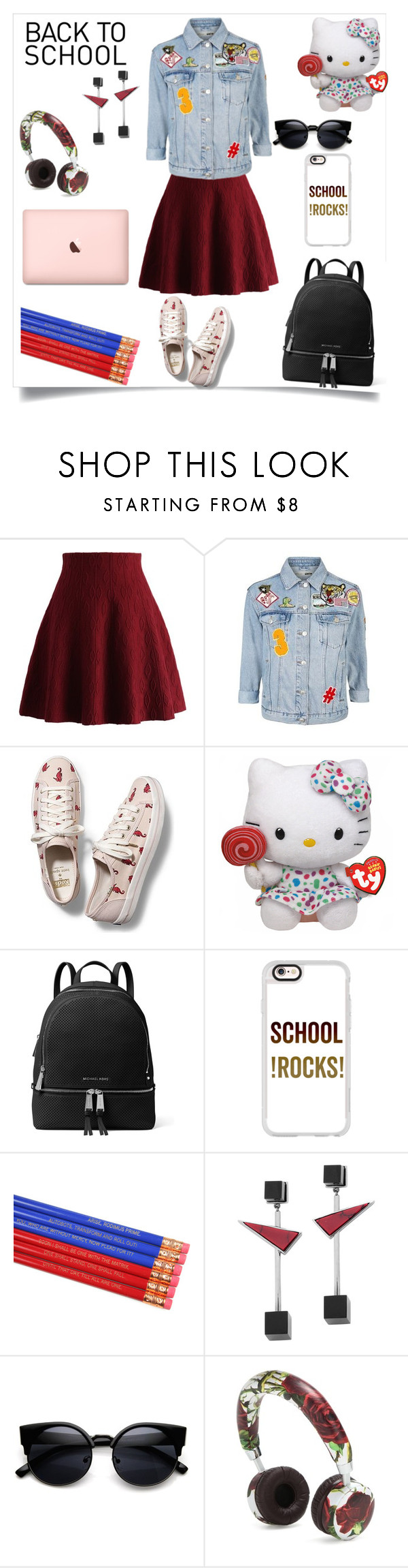"""""""Back to school"""" by horihime ❤ liked on Polyvore featuring Chicwish, Topshop, Keds, Hello Kitty, MICHAEL Michael Kors, Casetify, Eshvi and Dolce&Gabbana"""