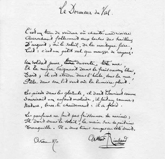 Manuscrit Original Le Dormeur Du Val Arthur Rimbaud Culte