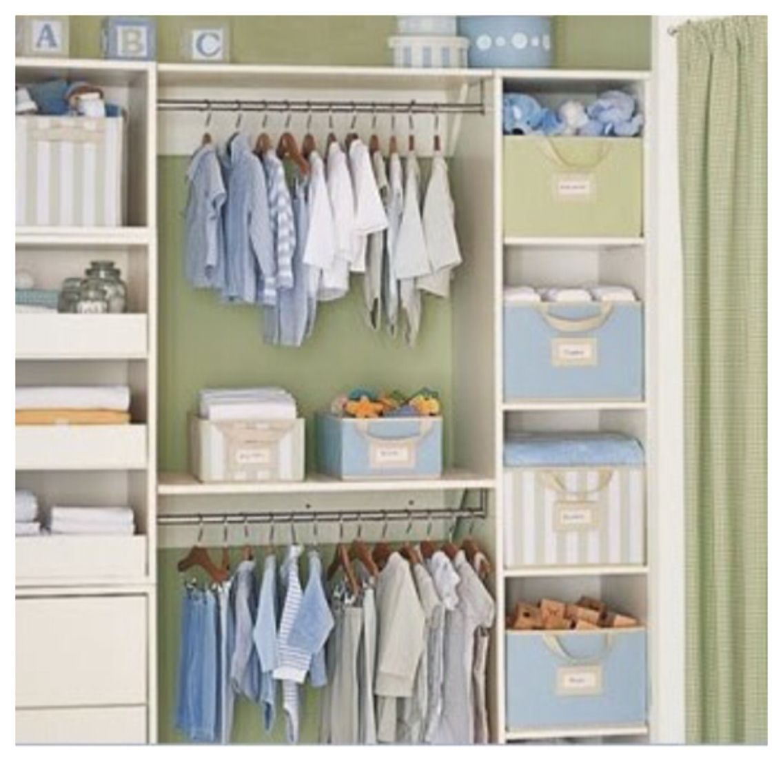This is basically how her closet cabinets are organized Nursery