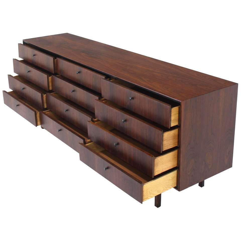 Best 12 Drawers Oiled Walnut Mid Century Modern Long Dresser 640 x 480