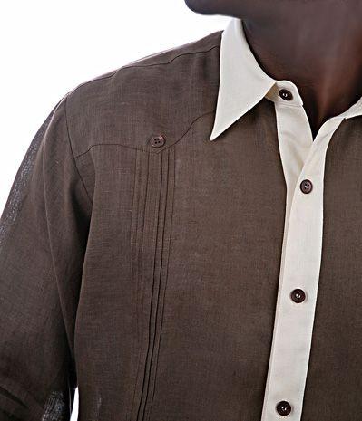 Guayabera Shirt Niels In Brown Linen Details Mens Shirts Nyc Businesscasual Sportshirt Mensshirts Menslinenshirt