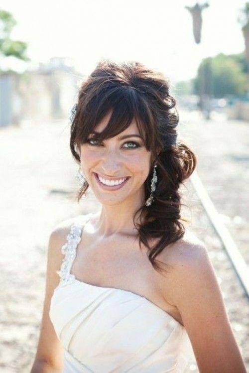 39 idées d'un modèle coiffure de mariée avec frange   Coiffures