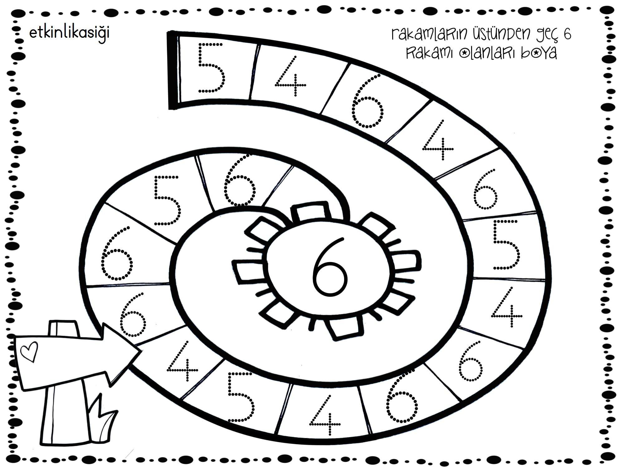 6 Rakami Okul Oncesi Calisma Cizelgeleri Okuma Calismasi Matematik