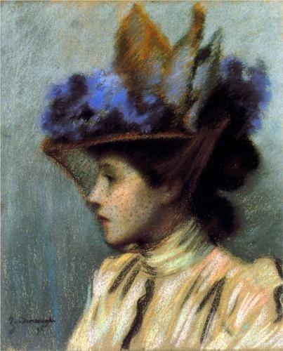 Lady with a hat - Federico Zandomeneghi 1895