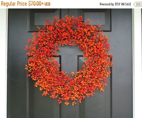 Orange Weatherproof Berry Wreath, Fall Wreath, Halloween Decor