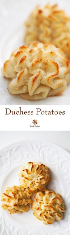 Classic Duchess potatoes, mashed with butter, nutmeg and cream, then baked until the tops are golden brown