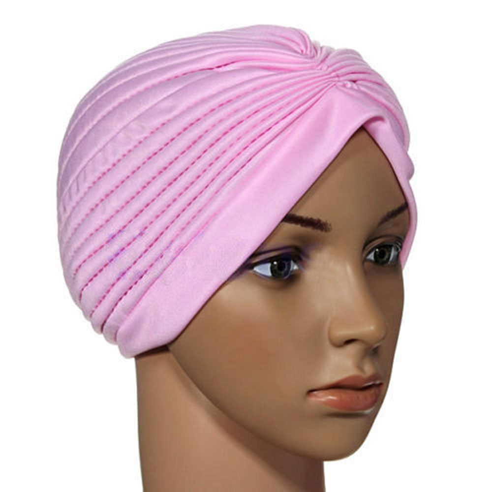 Lady Stretchy Turban Head Wrap Band Chemo Hijab Pleated Indian Cap Purple