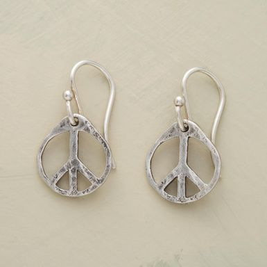 """From Sundance for $58.00.  Jewelry made with significance, our handmade sterling silver earrings preach peace. The symbols dangle from sterling silver French wires. Made in USA by Christy Lea Payne. 7/8""""L."""