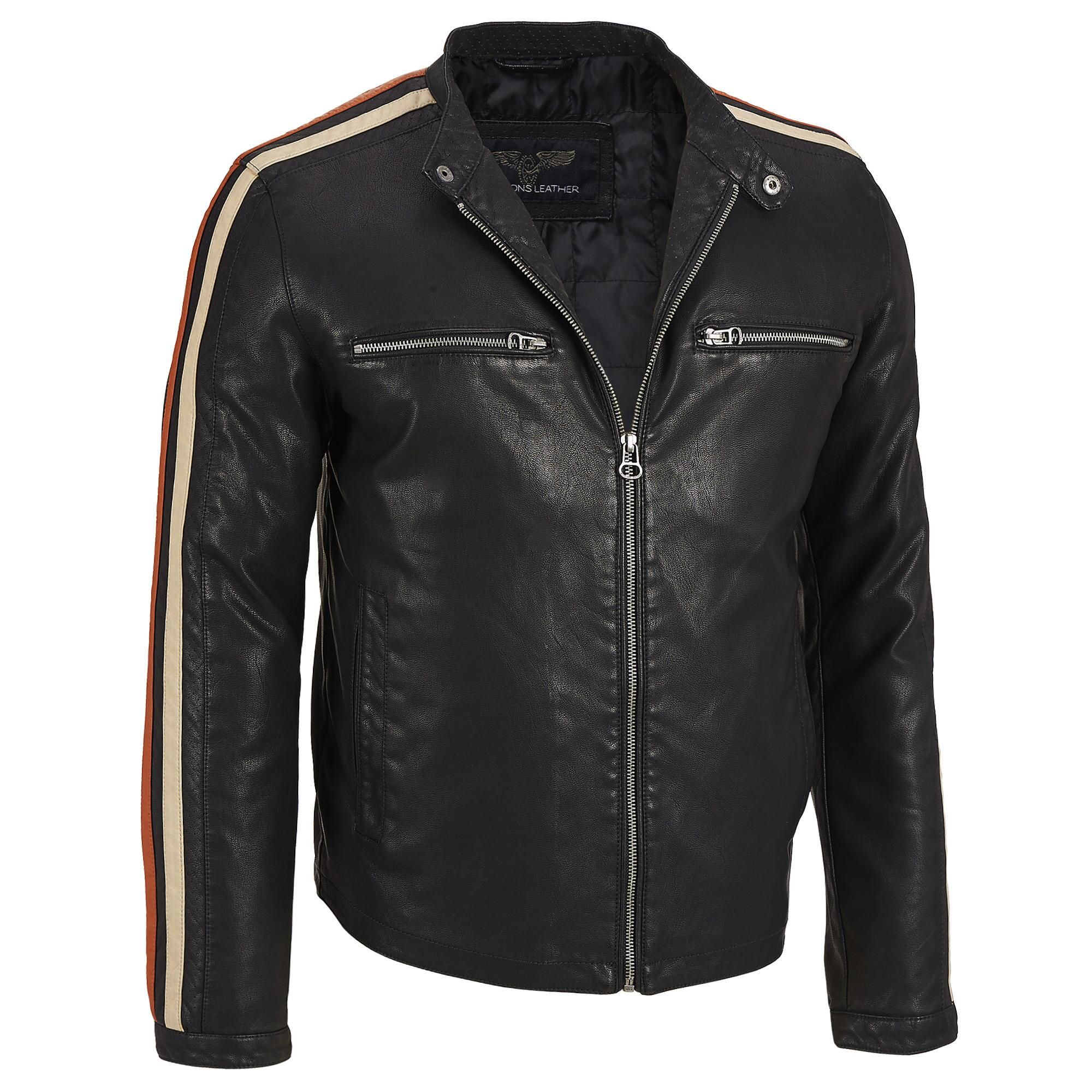 Stripe Faux Leather Wilsons Leather Leather Jacket Faux Leather Jackets [ 2000 x 2000 Pixel ]