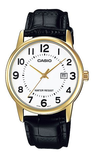 8e9a26e043c Casio MTP-V002GL-7B Mens Standard Analog Leather Band Gold Tone Day Date  Watch