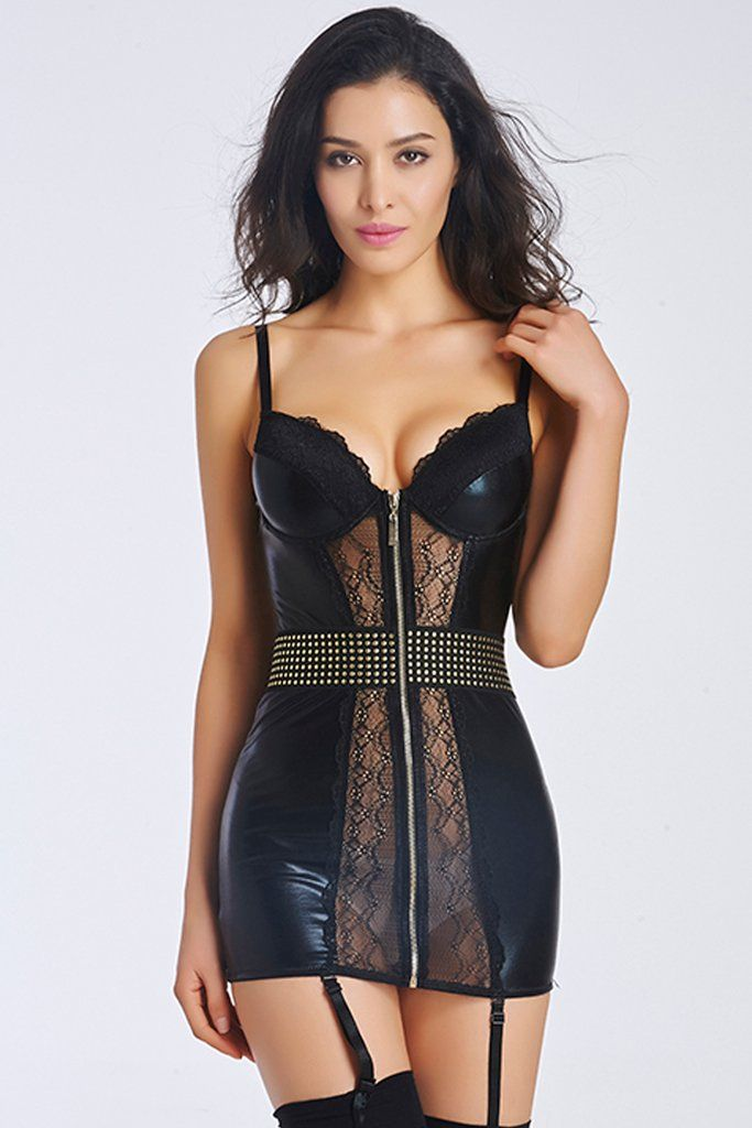 Sexy and commanding in our Atomic Black Leather and Lace Lingerie Nightwear. Get it here: https://atomicjaneclothing.com/products/atomic-black-leather-and-lace-lingerie-nightwear