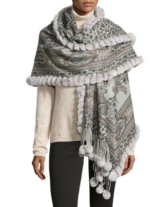 5f2f28e3815 Cashmere Reversible Fur Pom Pom Stole Animal Print/Gray   Fashion ...