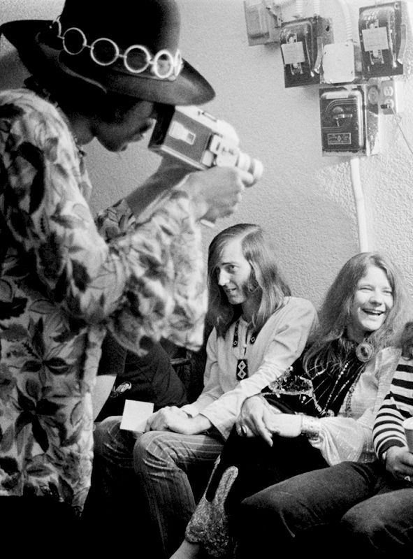 Jimi Hendrix films Janis Joplin and Sam Andrew at Winterland Ballroom, San Francisco, 1968.