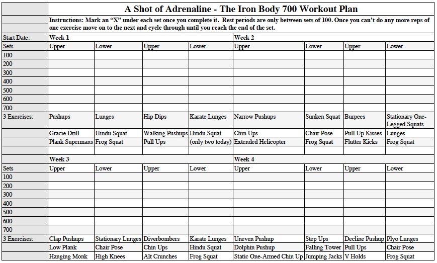 The Irony Body  Workout Schedule  Live Strong Hora De Trabajo