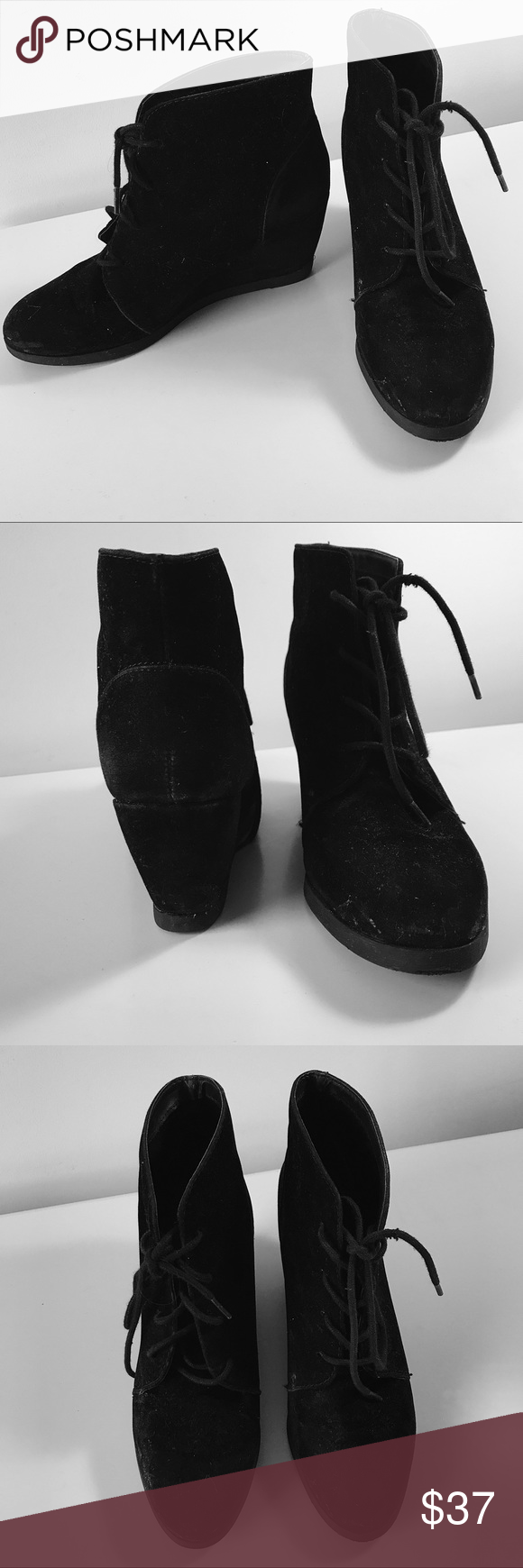 MADDEN GIRL BLACK SUEDE BOOTIES. SIZE 8 MADDEN GIRL black suede lace-up ankle booties. Size 8. Slightly worn but very sturdy and still in good condition! Very comfortable and super versatile. Completes any winter outfit. Madden Girl Shoes Ankle Boots & Booties
