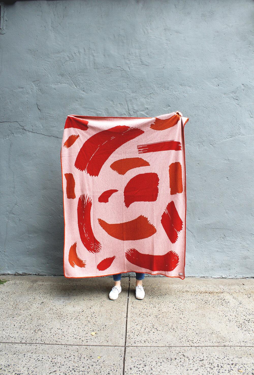 Paint Streaks In Warm Tones Knit Throw Blanket Calhoun Co In 2020 Knitted Throws Knit Throw Blanket Gifts For An Artist