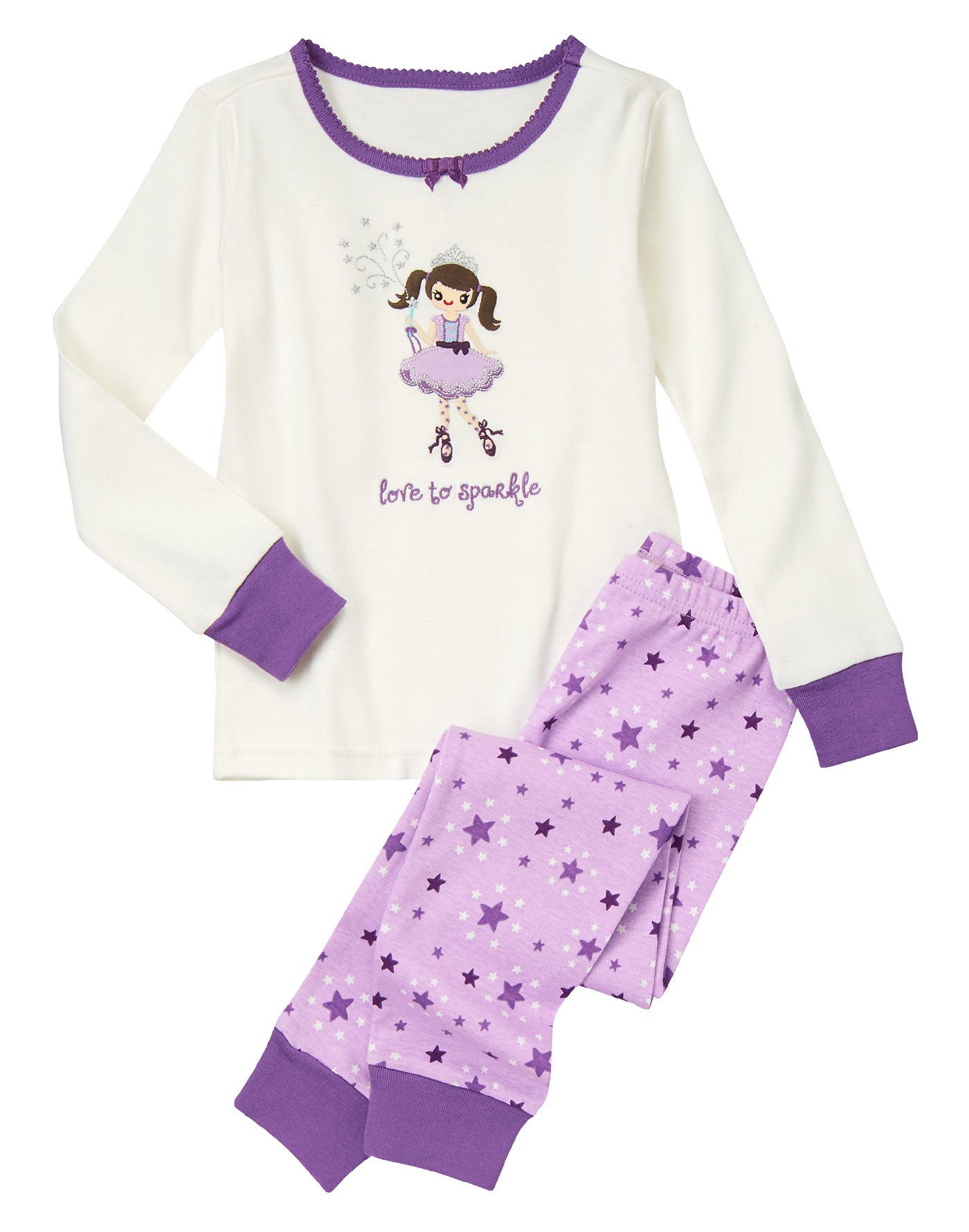 338d7405bf14 Comfy cotton pajama style with sparkly stars and a pretty fairy friend.
