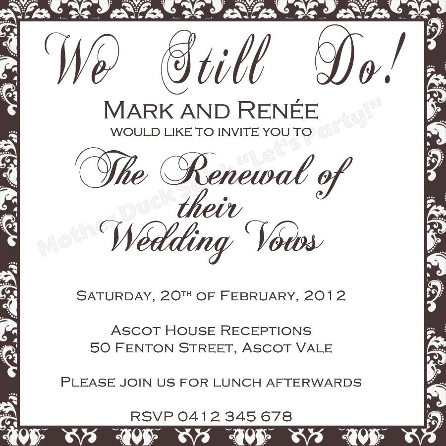 Vow Renewal Invite Printable Mother Duck Said Lets Party Vow